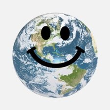 Happy earth smiley face Ornament (Round)