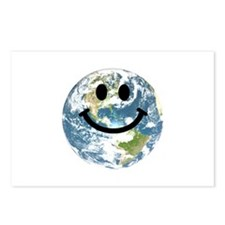 Happy earth smiley face Postcards (Package of 8)