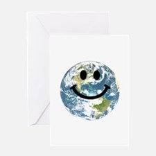 Happy earth smiley face Greeting Card