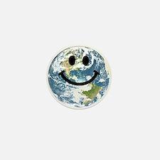 Happy earth smiley face Mini Button