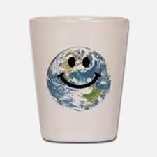 Happy earth smiley face Shot Glass