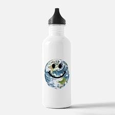 Happy earth smiley face Sports Water Bottle