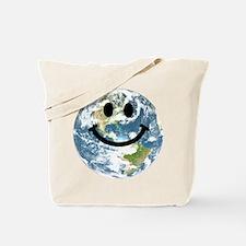 Happy earth smiley face Tote Bag