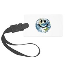 Happy earth smiley face Luggage Tag