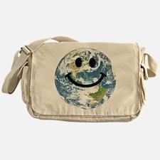 Happy earth smiley face Messenger Bag
