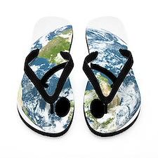 Happy earth smiley face Flip Flops