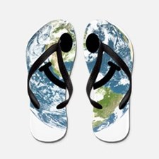 Happy earth smiley face Flip Flops