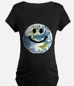 Happy earth smiley face Maternity T-Shirt