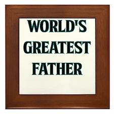 WORLDS GREATEST FATHER TEAL OUTLINE Framed Tile