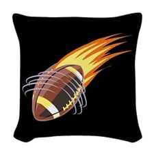 Flaming Football Woven Throw Pillow