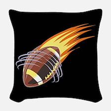 Flaming Football Woven Throw Pillow