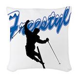 Freestyle skiing Throw Pillows
