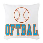 Softball Woven Throw Pillow