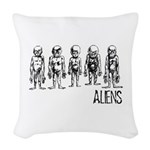 Hand Sketched Aliens Woven Throw Pillow