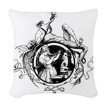 Devil Illustration Woven Throw Pillow