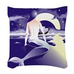 Mermaid Art Woven Throw Pillow