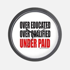 OVER EDUCATED OVER QUALIFIED UNDER PAID Wall Clock