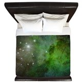 Green galaxy king King Duvet Covers