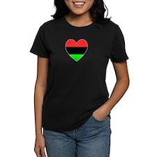 African American Flag Heart Gray Border Tee