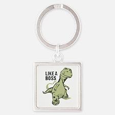 Like a Boss Dinosaur T Rex Square Keychain