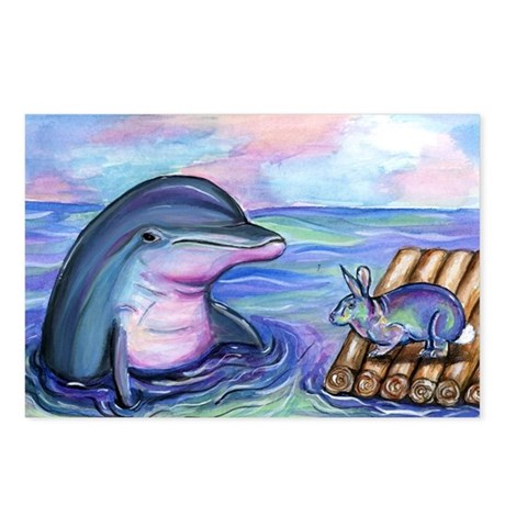 Dolphin Easter bunny Postcards (Package of 8)