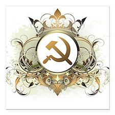 "Stylish Soviet Square Car Magnet 3"" x 3"""