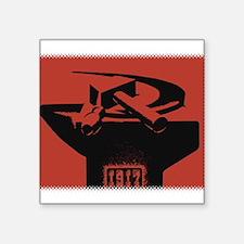 "Stylish Hammer & Sickle Square Sticker 3"" x 3"""