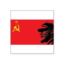 "Lenin Soviet Flag Square Sticker 3"" x 3"""