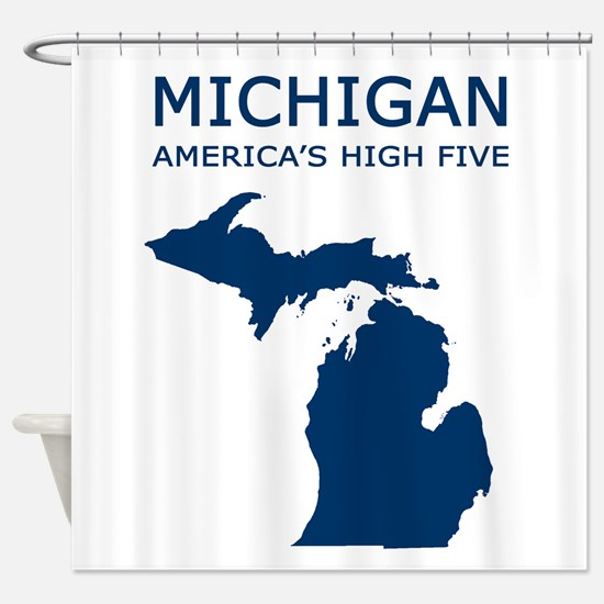3-MI_high5 copy.png Shower Curtain