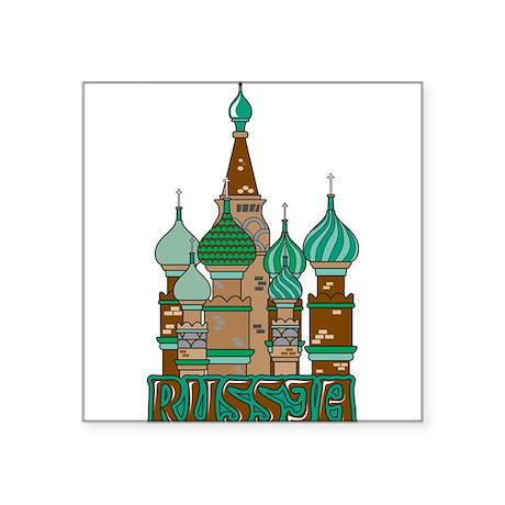 """Russia Square Sticker 3"""" x 3"""""""