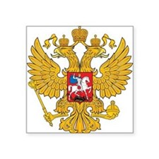 "Russia Coat Of Arms Square Sticker 3"" x 3"""