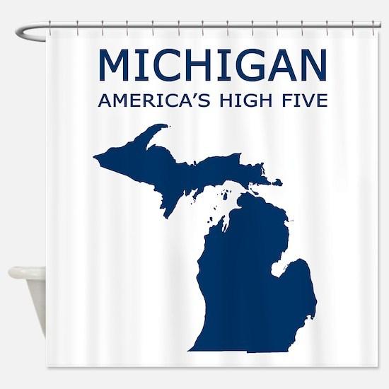 MI_high5.jpg Shower Curtain