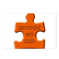 Different Not Less Autism Puzzle Piece Postcards (