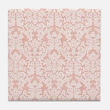 lace pattern - coral Tile Coaster