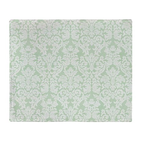 lace pattern - mint Throw Blanket