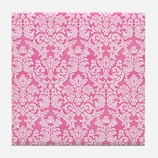 lace pattern - bright pink Tile Coaster