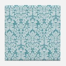 lace pattern - teal blue Tile Coaster