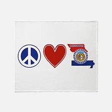 Peace Love Missouri Throw Blanket