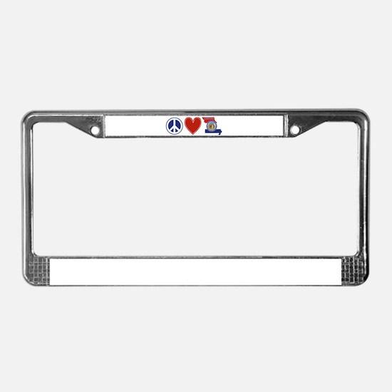 Peace Love Missouri License Plate Frame