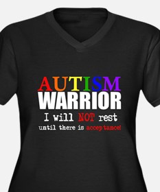 Autism Warrior Women's Plus Size V-Neck Dark T-Shi