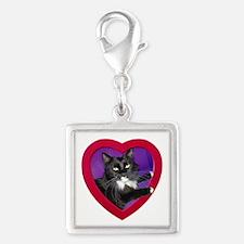 Tuxedo Cat Heart Charms