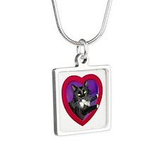 Tuxedo Cat Heart Necklaces