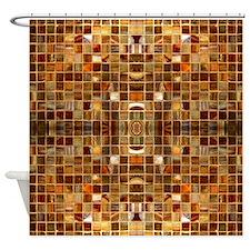 Gold Mosaic Tiles Shower Curtain