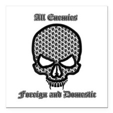 "All Enemies Skull Square Car Magnet 3"" x 3"""