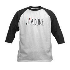 Je adore, french word art with red heart Baseball
