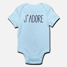 Je adore, french word art with red heart Body Suit