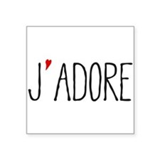 Je adore, french word art with red heart Sticker