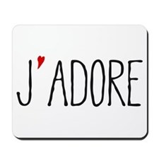 Je adore, french word art with red heart Mousepad