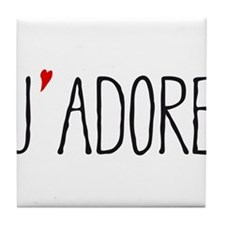Je adore, french word art with red heart Tile Coas