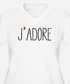 Je adore, french word art with red heart Plus Size